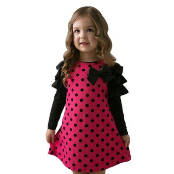 Girl's Long Sleeve Polka Dot Dress with Bow