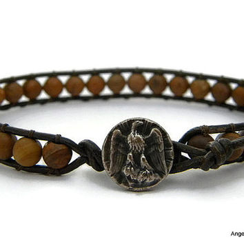 Mens Bracelet Leather Wrap Bracelet Eagle Single Wrap
