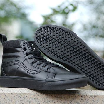 PEAPON Vans Black High Top Leather With Fur Warm Casual Sneakers Sport Shoes