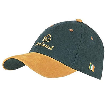 Baseball Cap With Yellow Embroidered Ireland And Shamrock, Green Colour