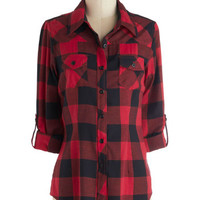 ModCloth Rustic Mid-length 3 Simply Scout Top in Red
