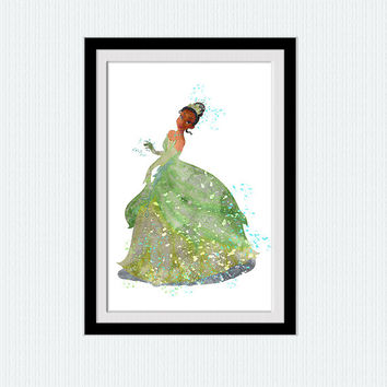 Tiana watercolor art print Disney colorful poster Disney princess decor Home decoration Kids room art Nursery decor Wall hanging art W492