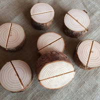 20 Natural Wood Place Card Holders, Natural Wood Place Card Holders, Natural Wood Circle Place Card Holders Set of 20