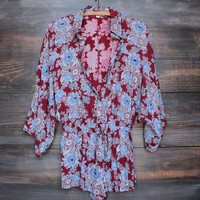 FINAL SALE - boho paisley romper with button up front - burgundy