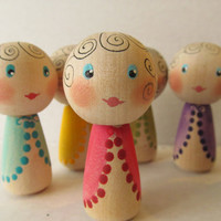 Kokeshi dolls-Peg dolls-Hand painted wooden dolls-Play set dolls-Birthday cakes/Cup cakes toppers-Rainbow color set of 6 dolls-Bridemates