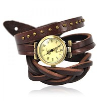 Dark Brown Leather Wrap Watch