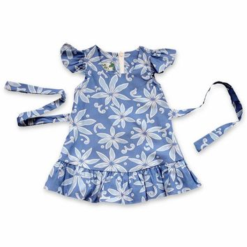 Lanikai Blue Hawaiian Girl Cotton Dress