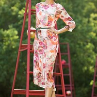 Floral Crushed Rose Asymmetrical Dress from the Lipstick Collection by Shabby Apple