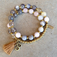 Botswana agate and pink quartz 27 bead wrap mala bracelet™ with Om charm and tassel