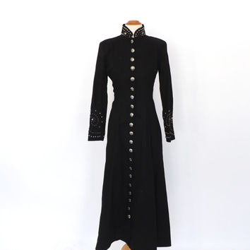 """Vintage """"Conquistadora Dress"""" 1980s Western Cowgirl Dress Rodeo Outfit Small Black Silver Metal Studded Dress Southwestern Ranch Dress"""