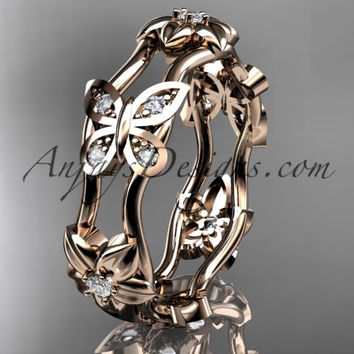 14kt rose gold diamond floral butterfly wedding ring, engagement ring, wedding band ADLR153. nature inspired jewelry