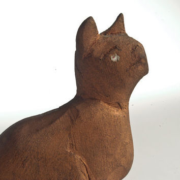 Vintage folk art cat hand-carved wooden primitive