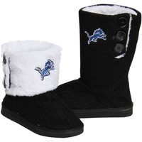 Detroit Lions Ladies Knit High End Button Boot Slippers - Black