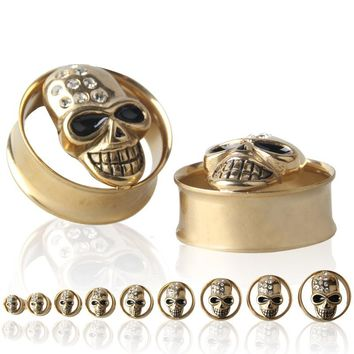 Gold Skull Double Flares 316L Stainless Steel Ear Guage Plug Ear Tunnel Stretcher