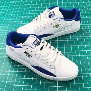 Puma Basket Classic Metallic Casual White Blue Sneakers - Best Online Sale
