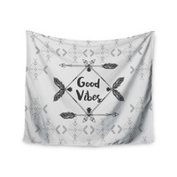 "Famenxt ""Boho Good Vibes"" Black Gray Wall Tapestry"