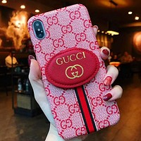 GUCCI Fashion New More Letter Print Women Men Protective Cover Phone Case Pink