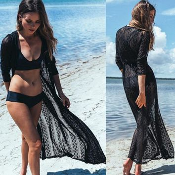 New! 2017 High Quality Lace Bikini Cover Ups Long Beach Dress Womens Tunic Beach dress Saida de Praia Pareo Swimwear Cover Up