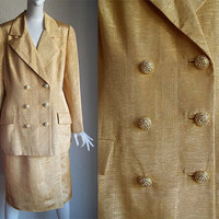 Vintage 80s David Hayes Rhinestones Gold Cocktail Suit 16 B43 W33