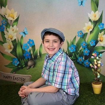 EASTER SCENE BUTTERFLY SPROUTING GREEN FLOWER PLATINUM CLOTH BACKDROP - 9x16 - LCPC6326 - LAST CALL
