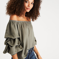 AEO Off-the-Shoulder Tiered Puff Sleeve Top, Olive