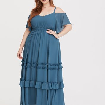 Special Occasion Blue Chiffon Maxi Dress