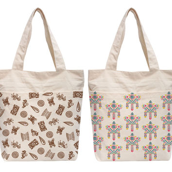 Women Watercolor Aztec Patterns Printed Beige Canvas HandBags WAS_07