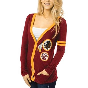 Washington Redskins Ladies Slub Button-Up Long Sleeve Cardigan - Burgundy