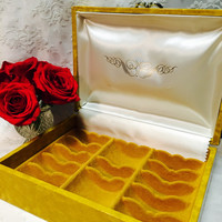 Vintage Sunshine Yellow Jewelry Box for Vintage Jewelry Collection Jewelry Holder lots of Storage 1960s