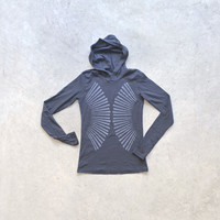 Women's hoodie in asphalt gray - windmill screenprint on fitted American Apparel hoodies by Blackbird Tees