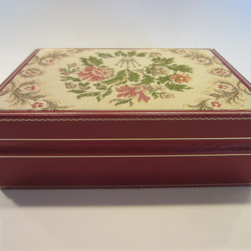 Rolex Swiss Jewelry Box Red Leather Floral Tapestry All Marked