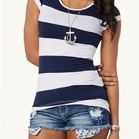 Wide Striped High Low Tee