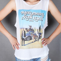 Macklemore and Ryan Lewis 2013 tour screenprinted Women tank top Size Small to Large