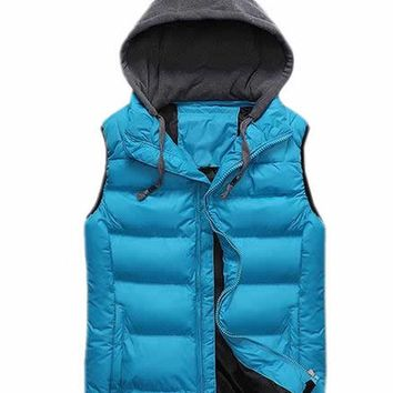 ARRIVE GUIDE Mens Slim Fit Solid Puffer Vest with Hood