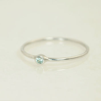 Tiny Aquamarine Ring, Solid White Gold Aquamarine Stacking Ring, Solid Gold Aquamarine Ring, Mothers Ring, March Birthstone, Aquamarine Ring