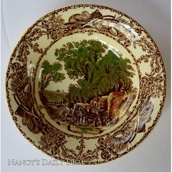 Brown Polychrome Transferware Rural Scenes Trinket Dish Candy Fruit Bowl AJ WIlkinson