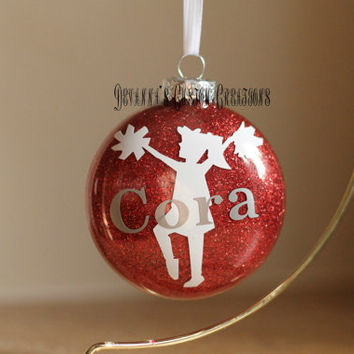 Personalized Cheerleading Ornament with Name (can add the year)