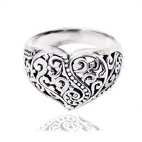925 Oxidized Sterling Silver Detailed Filigree Heart Ring - Nickle Free
