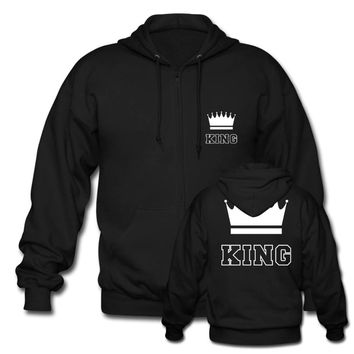 Cute Matching Couple Zip Hoodie Unisex King and Queen For Mens Womens Cotton Sweatshirts Harajuku Hoodies Custom Any Logo Size