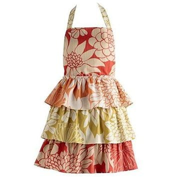 Vintage Style Tropical Trio Ruffles Vintage Apron. 100% Cotton Orange, Gold and Red Kitchen