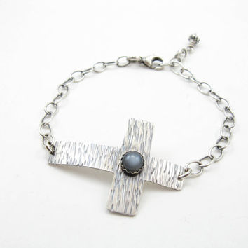 Sterling Silver Cross Bracelet Gray Moonstone Gemstone Cross Bracelet Spiritual Religious Jewelry Faith Unisex Cross Bracelet Handmade