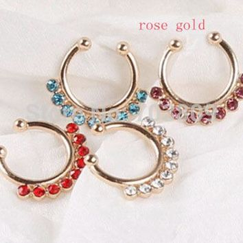 Non Piercing Fake Nose Ring Stud Hoop Gold Fake Piercing Septum Nose Rings 16g Indian Nose Ring Fake Piercing mix 16pcs