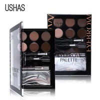 USHAS Brand Eyebrow Makeup Set Eye brow Powder Brow Pencil Matte Eyeshadow Cream Concealer Eyebrow Brush Bronzer Contour Palette