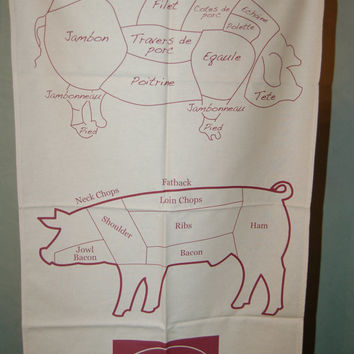 SALE - 3 Pig Kitchen Towels - Butchers cuts in English and French