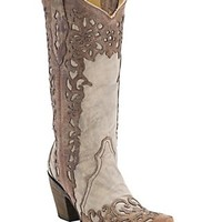 Corral Ladies Distressed Sand w/ Cognac Lazer Overlay Snip Toe Western Boots