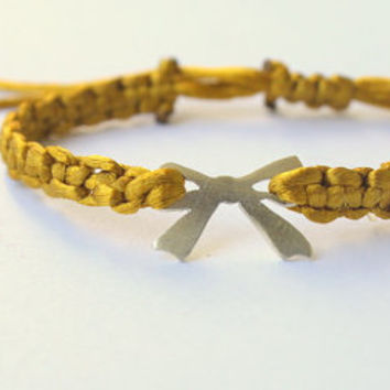 Bow Golden Macrame Woven Bracelet by meltemsem on Etsy