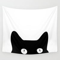 Black Cat Wall Tapestry by Good Sense