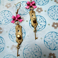 Enchanted Alice in Wonderland Door Knob Earrings