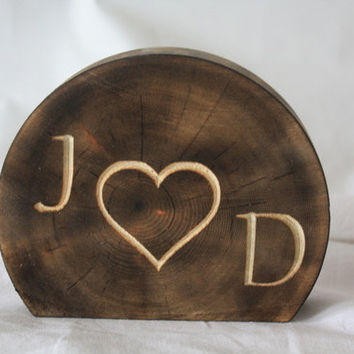 Wedding Rustic Wood Cake Topper - Monogram wood burned log initials and heart