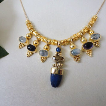 statement necklace gold vermeil with amethyst, moon stone, blue lapis. gemstones. gold bead necklace.